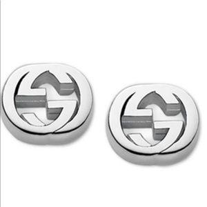 Gucci Sterling Silver Logo Stud Earrings